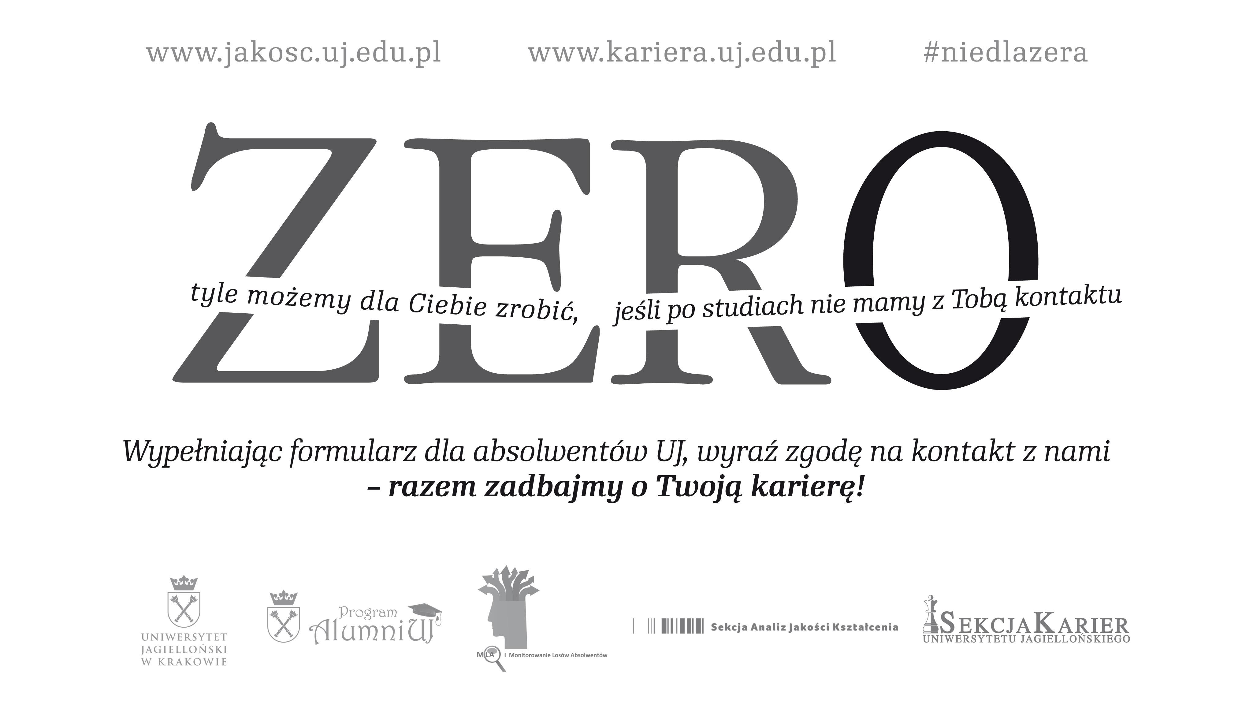 Plakat informacyjny dotyczący formularza zgody na kontakt po studiach